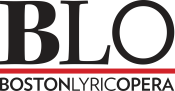 The letters B L O in black text. There is a red line below the letters, and beneath the line are the words Boston Lyric Opera